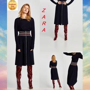 ZARA Navy Blue New Midi Skirt